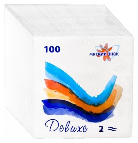 Салфетки бумажные мягкий знак белые, 2 слоя, 24х24, 100 листов/уп. Мягкий знак