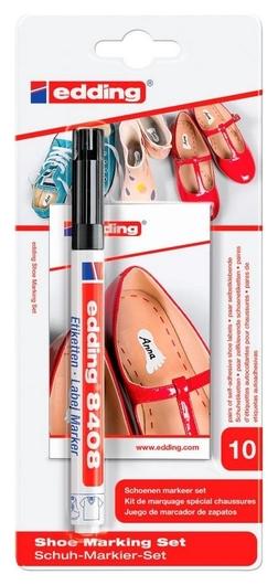 Набор для маркировки обуви Edding 8408: черный маркер, 10 этикеток. блистер  Edding