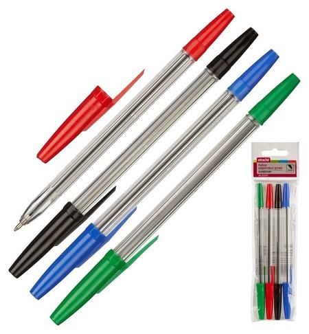 Ручка шариковая Attache Economy Elementary, набор 4 цвета, 0,5мм  Attache