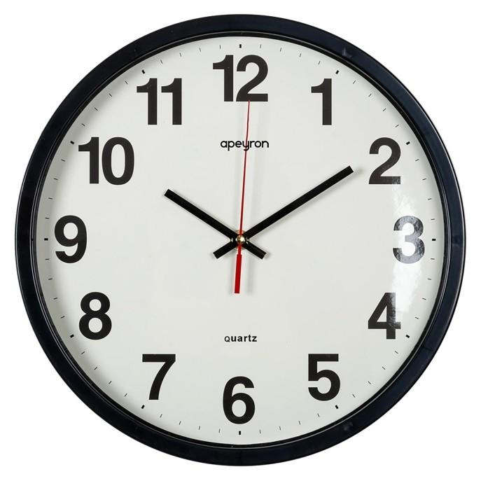 Часы настенные, круглые, черный, пластик ?30см бесшумный Pl200908  Apeyron