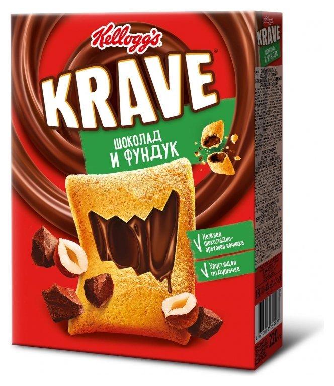 Завтрак подушечки Kellogg?s Krave с шоколадно-ореховой начинкой, 220гр  Kellogg's