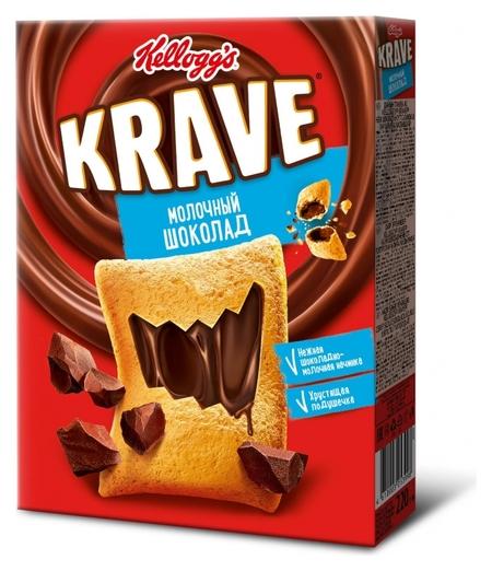 Завтрак подушечки Kellogg?s Krave с шоколадно-молочной начинкой, 220 гр  Kellogg's