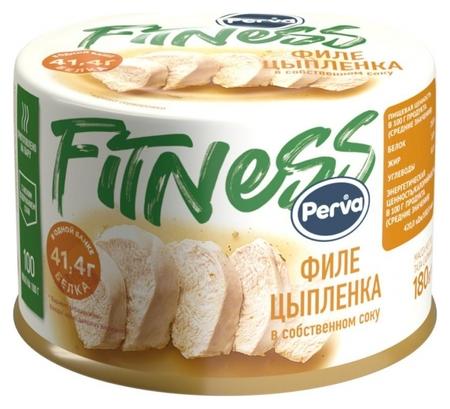Мясные консервы филе цыпленка в собственном соку Perva Fitness ключ, 180г  Perva