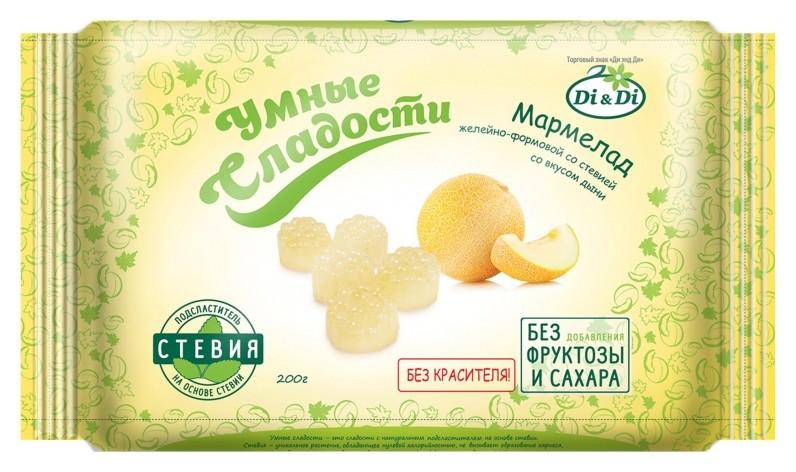 Мармелад умные сладости Di&di желейно-формовой со вкусом дыни,стевия,200г  Di & Di