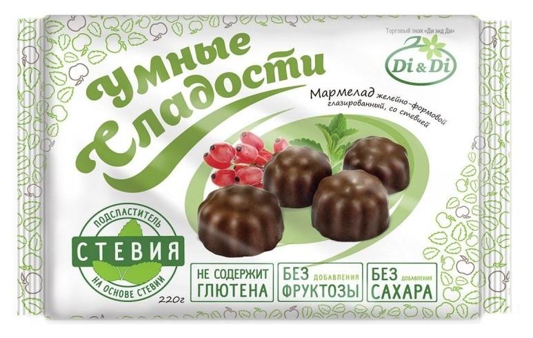 Мармелад умные сладости Di&di желейный в шоколадной глазури,стевия, 220г  Di & Di
