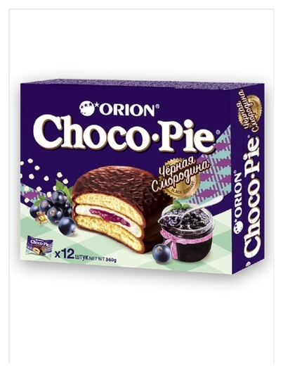 Пирожное в глазури Orion Choco Pie Black Currant, 12шт/1уп  Orion