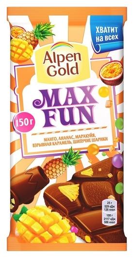Шоколад Alpen Gold MIX FUN C фруктами,рисовыми шариками и карамелью,150 г  Alpen Gold