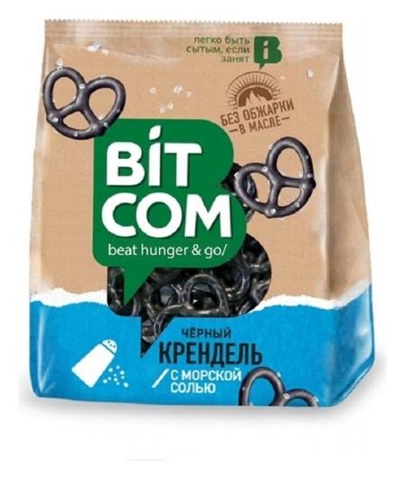 Сушки крендель чёрный с морской солью Bitcom, 130г Bitcom