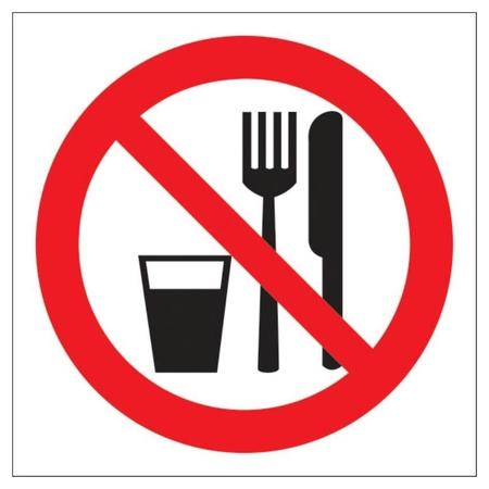 Знак безопасности Р30 запрещается принимать пищу, 200x200 мм, пластик  Технотерра