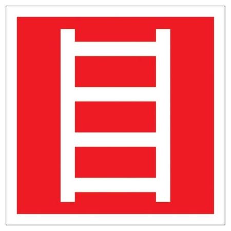 Знак безопасности F03 пожарная лестница, 200x200 мм, пластик  Технотерра