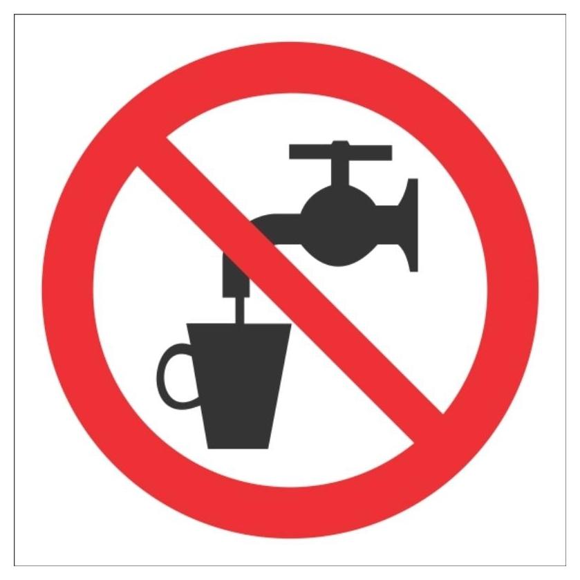 Знак безопасности Р05 запрещ использов в качестве пить воды 200x200 пласт  Технотерра