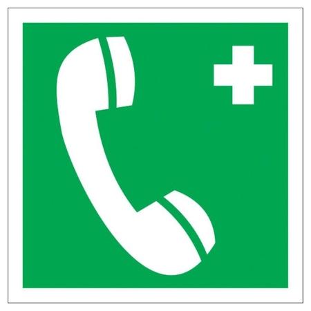 Знак безопасности ес06 телефон связи с мед. пунктом, 200x200 мм, пластик  Технотерра
