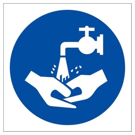 Знак безопасности М17 мыть руки, 200x200 мм, пленка  Технотерра