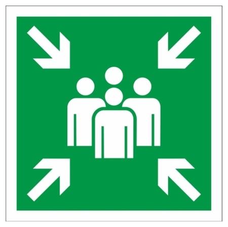 Знак безопасности Е21 пункт (Место) сбора, 200x200 мм, фотолюм. пленка  Технотерра