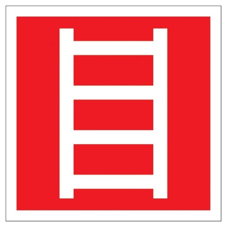 Знак безопасности F03 пожарная лестница, 300x300 мм, с/в, металл 0,5 мм  Технотерра