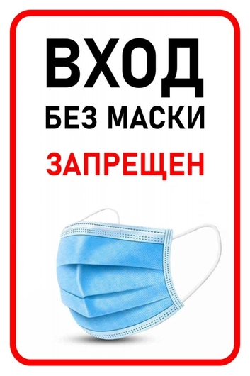 Знак безопасности вход без маски запрещен, 200х300 мм, пленка  Технотерра