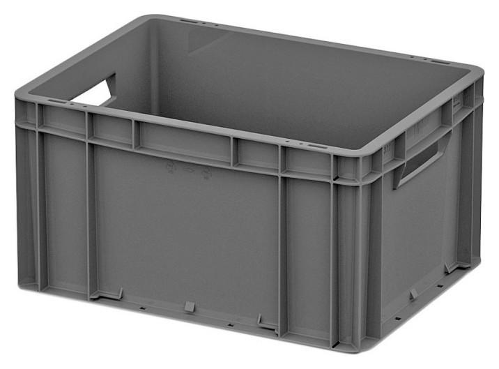 Ящик сплошной серый 400x300x220 (ЕС 4322.1) с гладким дном, откр ручки  I plast