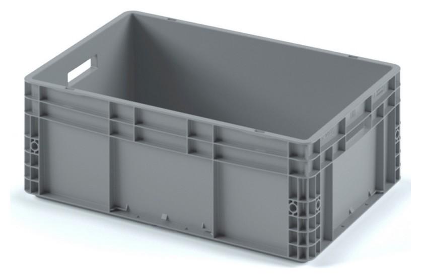 Ящик сплошной серый 600х400х220 (Ес-6422.1) с гладким дном, откр ручки  I plast