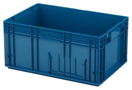 Ящик сплошной (Rl-klt 6280) 592 х 396 х 280 синий дно с отверстиями  I plast