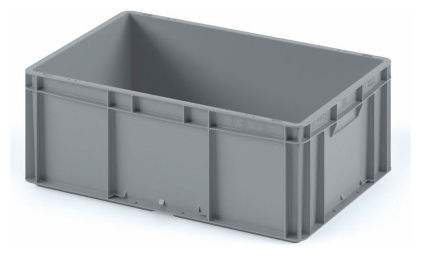 Ящик сплошной серый 600х400х220 (Ес-6422.2) гл.дно, закр.ручки  I plast