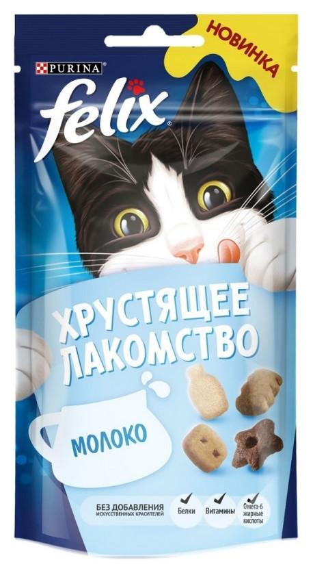 Лакомство Felix хрустящее 60 г пауч для взрослых кошек, с молоком 1х8  Felix