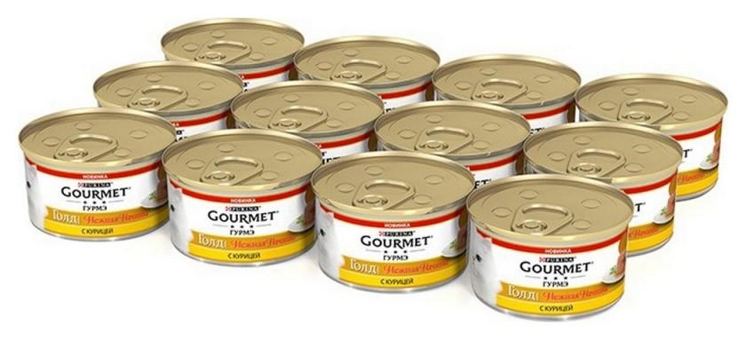 Корм влажный Gourmet нежная начинка 85г консервы для кошек, с курицей 1х12  Bruggen