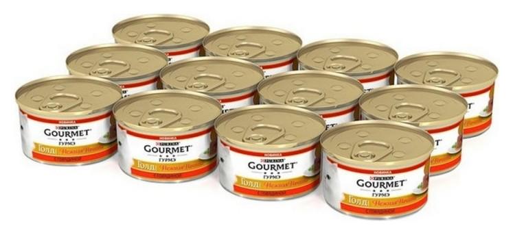 Корм влажный Gourmet нежная начинка 85г консервы для кошек с говядиной 1х12  Bruggen