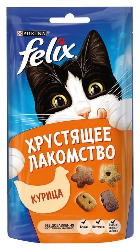 Лакомство Felix хрустящее 60 г пауч для взрослых кошек, с курицей 1х8  Felix