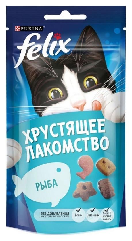 Лакомство Felix хрустящее 60 г пауч для взрослых кошек, с рыбой 1х8  Felix