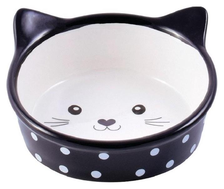 Миска керамическая для кошек мордочка кошки черная 250мл, 4000945211178  КерамикАрт