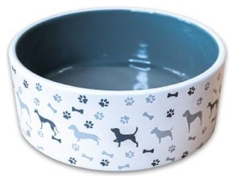 Миска керамическая для собак с рисунком серая 800мл 198554,4000945198554  КерамикАрт
