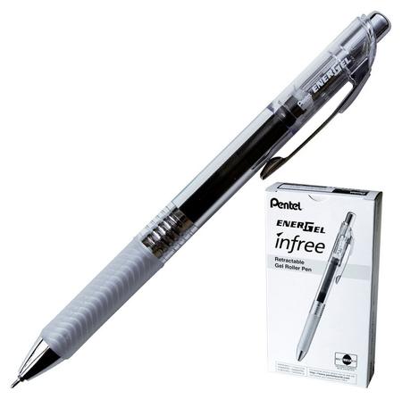 Ручка гелевая Pentel Energel Infree, автом.рез.манж, черн.стерж Bln75tl-a  Pentel