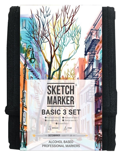 Набор маркеров Sketchmarker Basic 3 12шт базовые оттенки + сумка органайзер  Sketchmarker