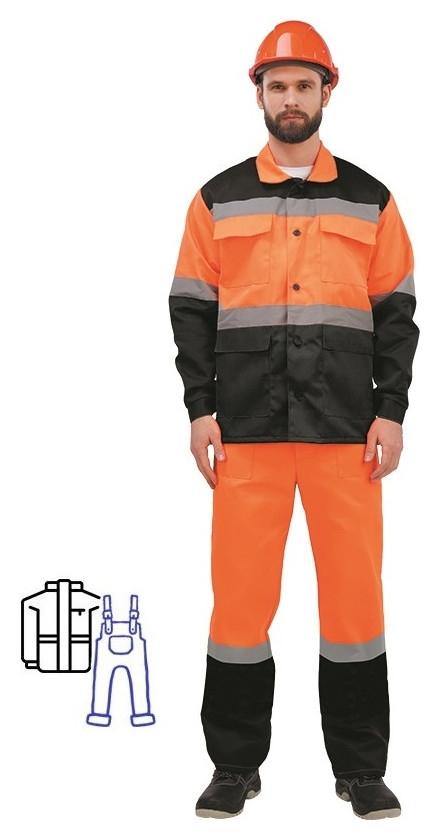 Спец.одежда летняя костюм муж. лд01-кпк оранж./черн. (Р.52-54) 182-188 NNB