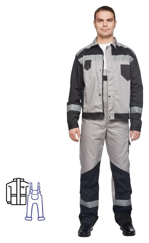 Спец.одежда летняя костюм мужской л21-кпк серый/черн. (Р.44-46) 182-188 NNB