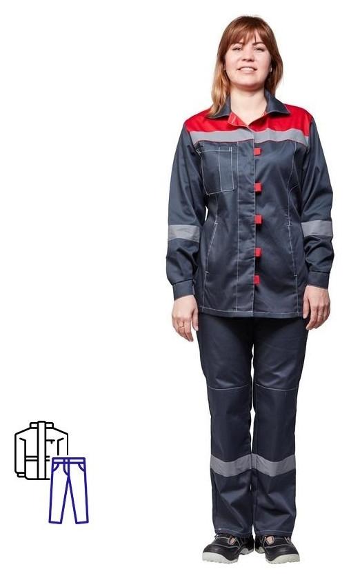 Спец.одежда летняя костюм жен. л20-кбр сер/красн (Р.52-54) 158-164 NNB