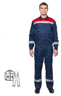 Спец.одежда летняя костюм муж. л20-кпк син/красн (Р.60-62) 158-164
