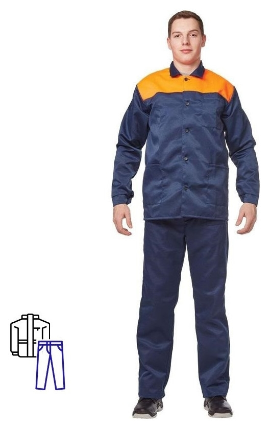 Спец.одежда летняя костюм муж. л16-кбр син/оранж (Р.64-66) 182-188  NNB
