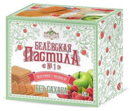 Пастила белёвская без сахара с малиной бп-бсмал-125  Белёвские сладости