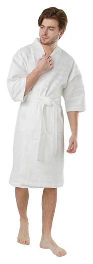 Халат вафельный 220гр/м2 кимоно ХL (54-58) белый Luscan