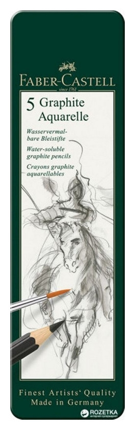 Набор карандашей ч/г Faber-castell Graphite Aquarelle, 5шт, Hb-8b, 117805  Faber-castell