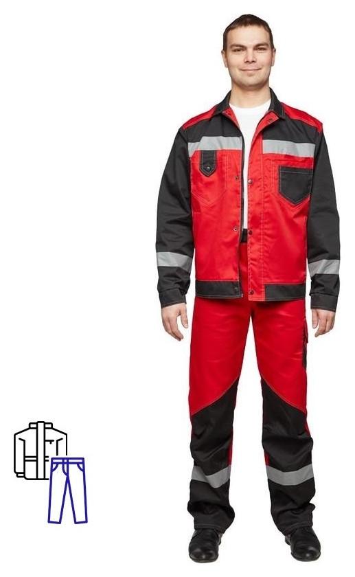 Спец.одежда летняя костюм мужской л21-кбр красн/черн.(Р.52-54) 182-188 NNB