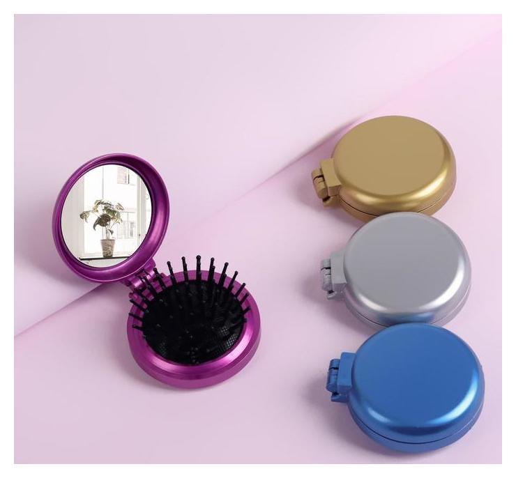 Расчёска массажная, складная, с зеркалом  Queen Fair