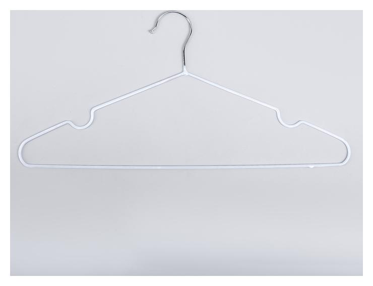 Вешалка-плечики для одежды доляна, размер 40-44, антискользящее покрытие, цвет белый  Доляна