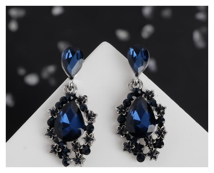 Серьги со стразами Капля шик, цвет синий в чернёном серебре Queen fair