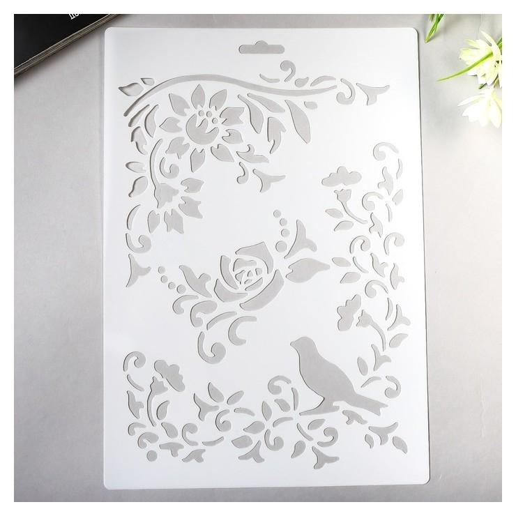 Трафарет Птица в розовом саду NNB