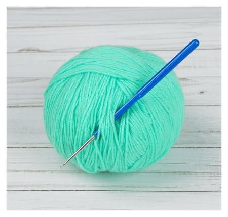 Крючок для вязания, с пластиковой ручкой, D = 1 мм, 13,5 см, цвет синий  Арт узор
