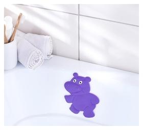 Мини-коврик для ванны доляна «Бегемотик», 12×13 см, цвет фиолетовый  Доляна