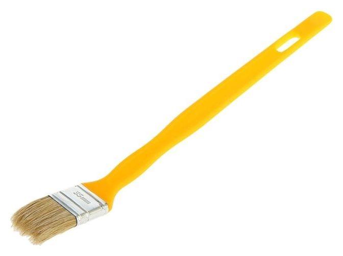 "Кисть радиаторная ""Акор"" эксперт, 35х10 мм, ручка пластик, натуральная щетина  Акор"