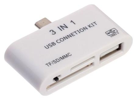 Картридер-otg Luazon Lncr-100, адаптер Micro Usb, разъемы Usb, Microsd, SD, белый  LuazON